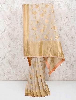 Light grey gorgeous cotton silk saree