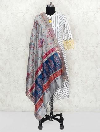 Light grey lovely dupatta in pashmina silk