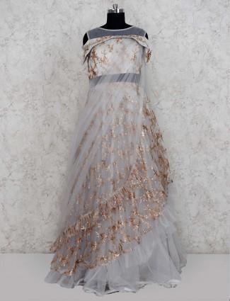 Light grey net fabric ruffle gown