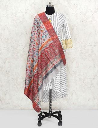 Light grey pretty pashmina silk dupatta
