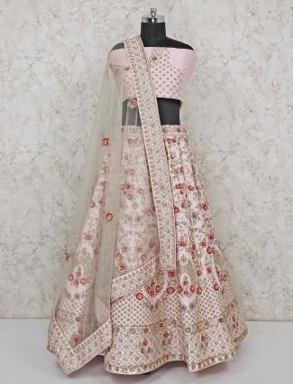Light pink bridal wear silk semi stitched lehenga choli
