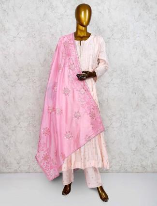 Light pink cotton silk fabric punjabi salwar suit