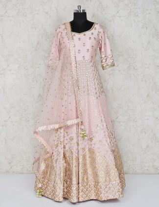 Light pink georgette floor length anarkali suit