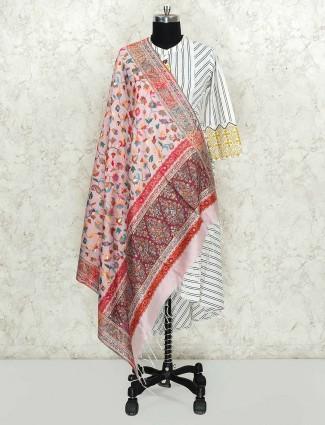 Light pink lovely dupatta in pashmina silk