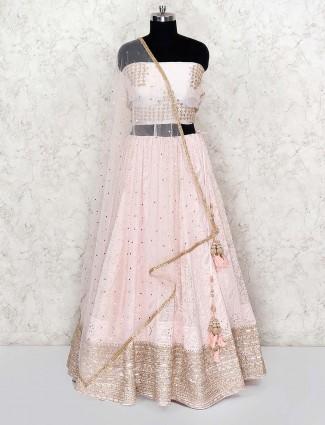Light pink pretty georgette wedding wear semi stitched lehenga choli
