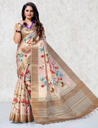 Light pink printed saree