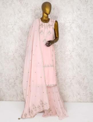 Light pink  punjabi cotton silk sharara suit