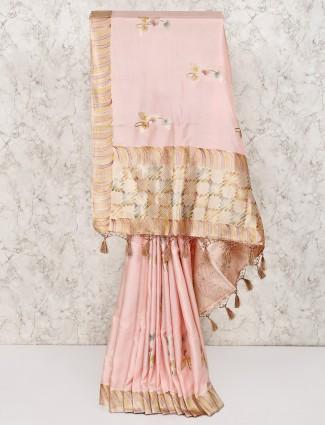 Light pink wedding silk saree