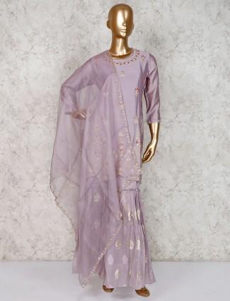 Light purple gharara suit in cotton silk