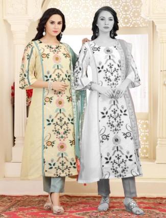 Light yellow cotton casual wear kurti