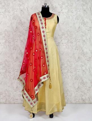 Light yellow floor length cotton silk anarkali suit