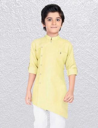 Light yellow plain cotton short kurta