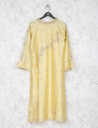 Light yellow pretty kurti in cotton silk