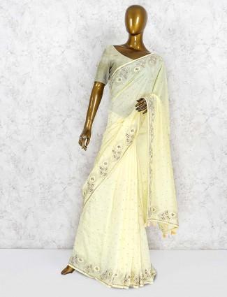 Light yellow saree in silk fabric