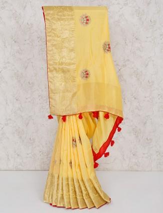 Light yellow semi silk saree for festive occasion