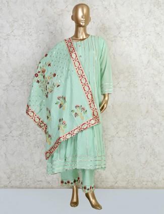Lime green cotton palazzo salwar suit