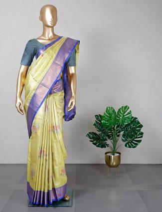 Lime yellow festive wear banarasi cotton silk saree