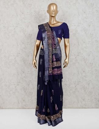 Linen navy blue printed festive saree