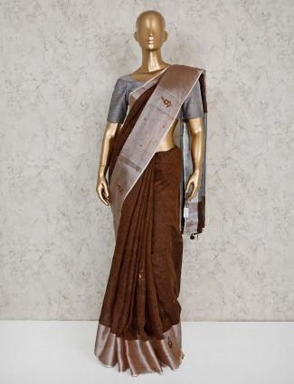 Linen brown saree