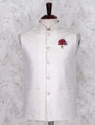 Linen fabric solid cream waistcoat