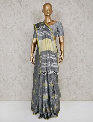 Linen festive wear grey saree