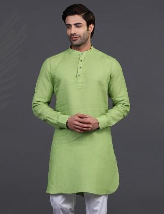 Linen green only kurta for festive