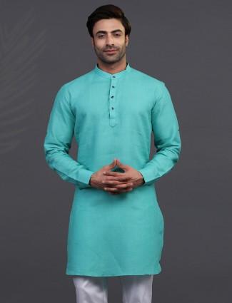 Linen sea green festive mens kurta