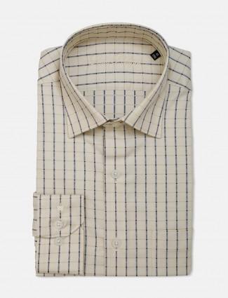 Louis Philippe cream checks cotton shirt