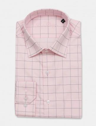 Louis Philippe pink checks cotton shirt