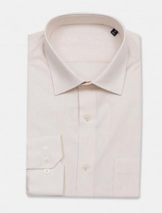 Louis Philippe solid cream cotton shirt