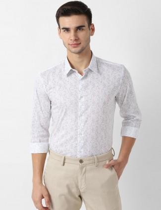 Louis Philippe white printed cotton shirt