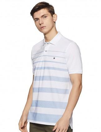 Louis Phillipe off white cotton stripe t-shirt