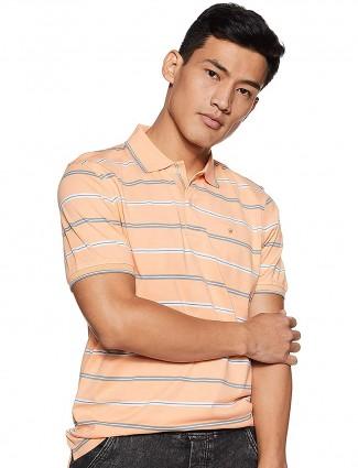 Louis Phillipe peach stripe pattern t-shirt