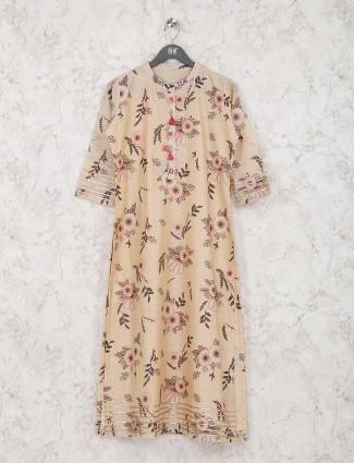 Lovely beige hue casual wear printed cotton silk kurti