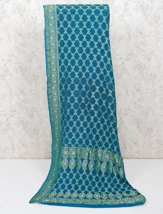 Lovely blue wedding bandhej saree