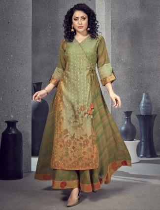 Lovely green designer cotton silk angrakha kurti