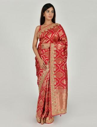 Lovely magenta tussar silk saree in wedding