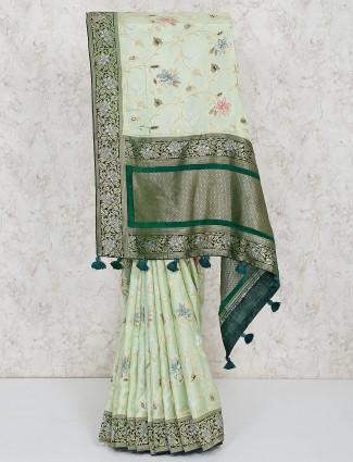 Lovely pista green semi silk saree
