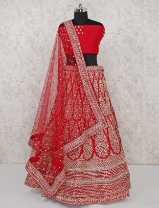 Lovely red bridal semi stitched lehenga choli