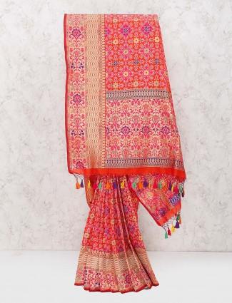 Lovely red color banarasi semi silk wedding saree