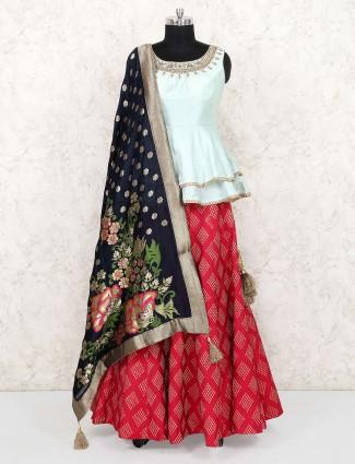 Lovely red color peplum style cotton silk lehenga choli