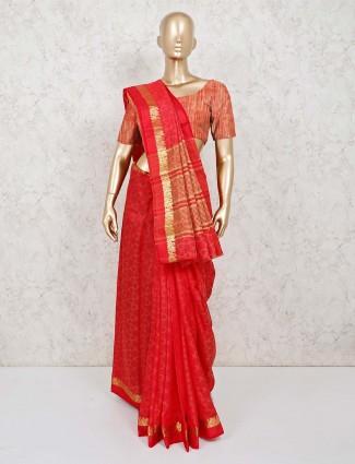 Lovely red cotton silk jacquard design saree