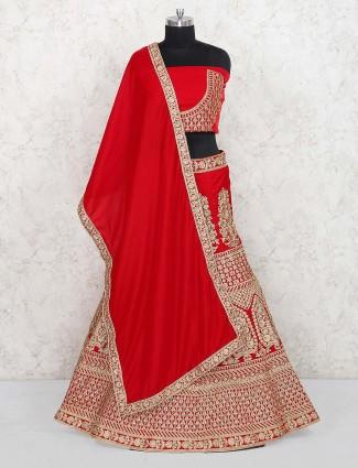 Lovely red hue bridal semi stitched lehenga choli in velvet