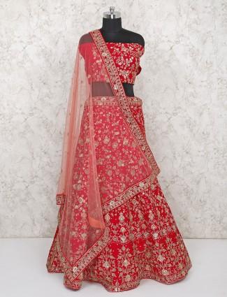 Lovely red silk bridal semi stitched lehenga choli