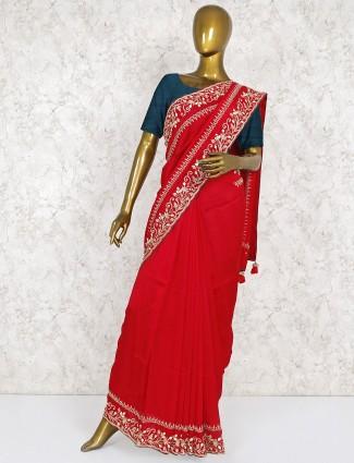 Lovely red silk fabric saree