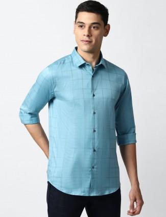 LP blue checks casual mens shirt