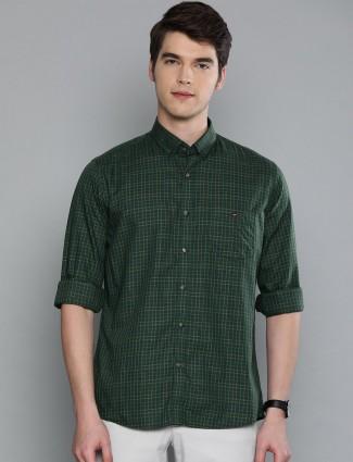 LP green checks curve hem shirt