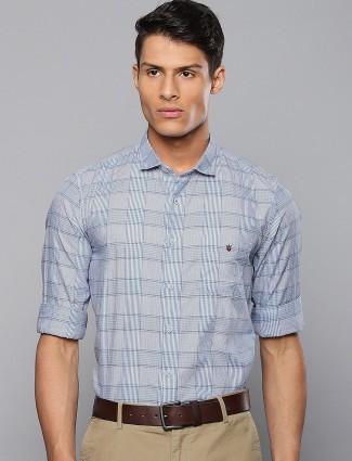 LP light blue tweed pattern casual shirt