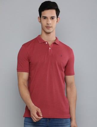 LP maroon solid cotton t-shirt