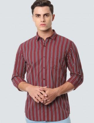 LP maroon stripe casual shirt